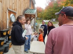 Steve educating visitors about the sugaring process and about the products that Jed's offers.