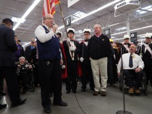 Paul Monette (blue vest) not only is the mayor of Newport, but he is also employed by Walmart.