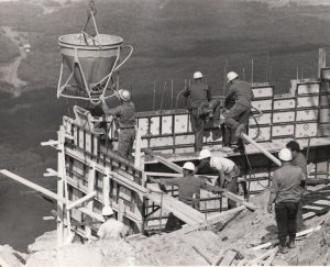 Construction of the tram house at the top of the mountain.