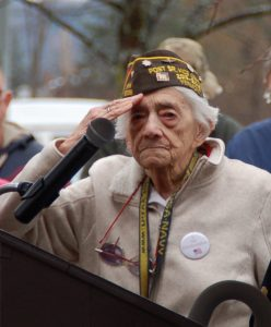 Madeline Chaffee was at Pearl Harbor, Hawaii, when it was attacked by Japanese forces on December 7, 1941. She's shown here, saluting during a Veterans Day ceremony in Lyndonville in November 2015.